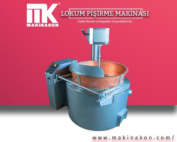 Bakır kazanlı lokum pişirme makinası hakkında kapsamlı bilgi içeren makale için hazırlanmış görsel. MakinaKon