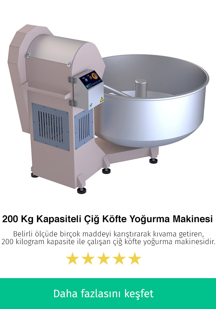 200 Kilogram Kapasiteli Çiğ Köfte Karma Makinesi